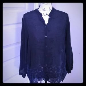 Johnny Was navy embroidered  bluse